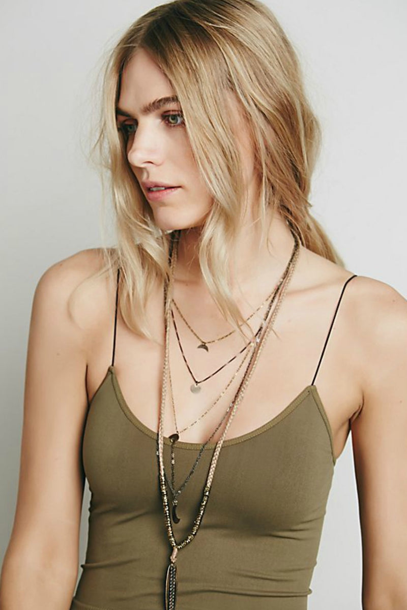 Free People Skinny Strap Brami in Olive Green