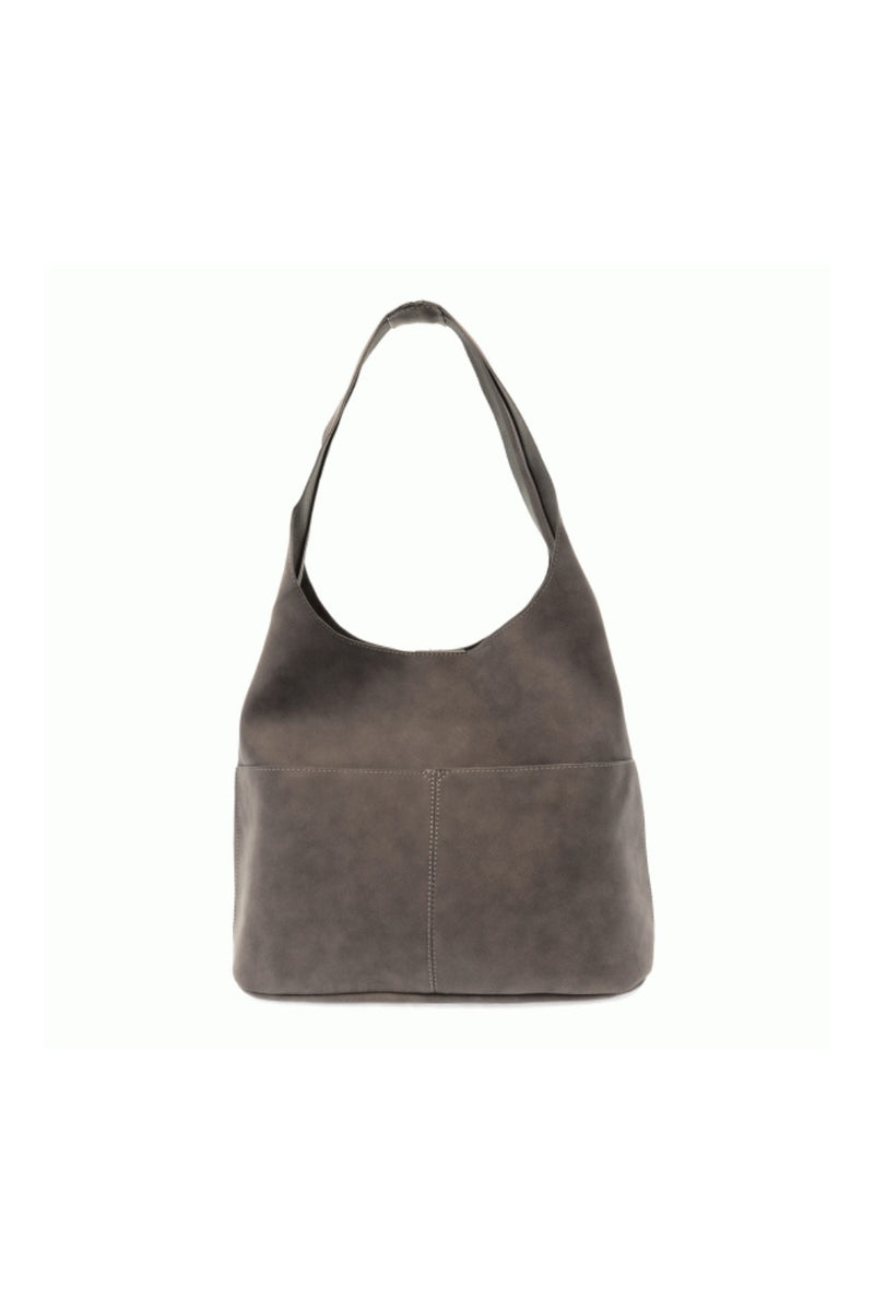 Jenny Sueded Hobo Handbag- Light Grey