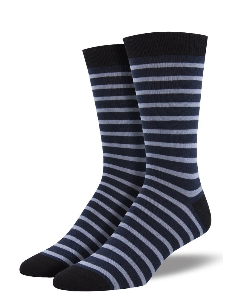 Socksmith Men's Bamboo Sailor Stripe Socks - Navy