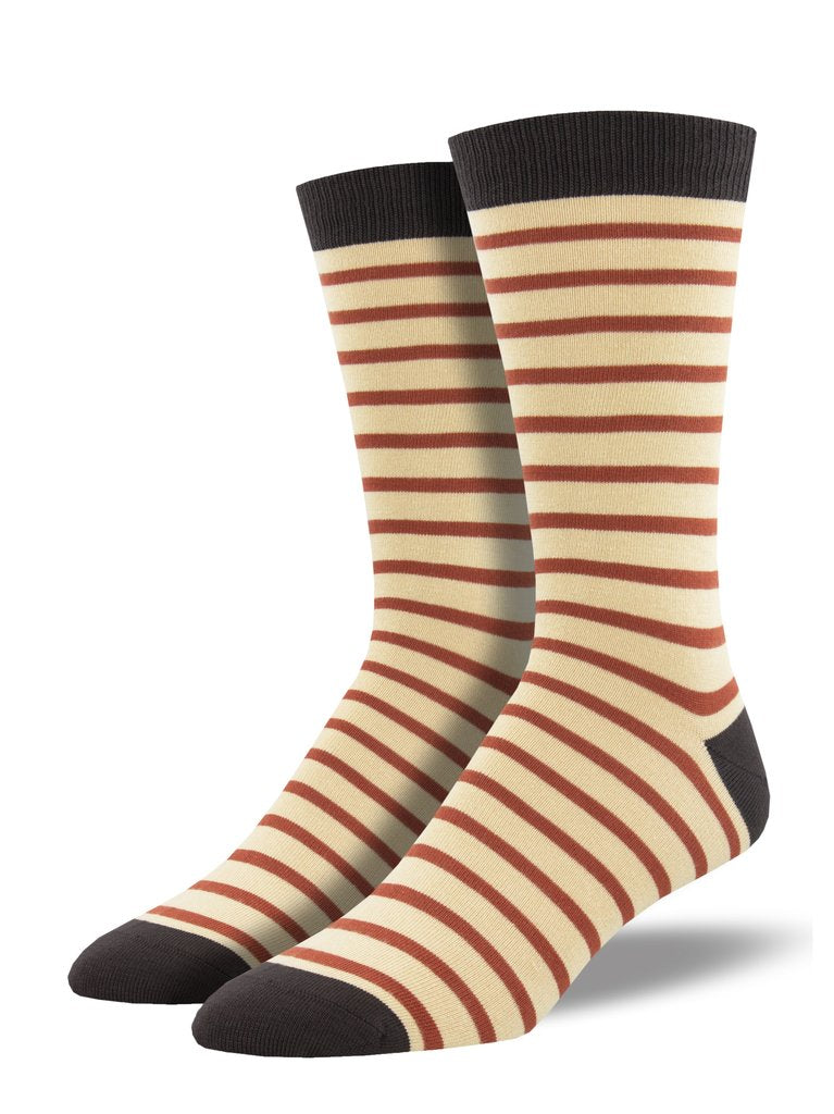Socksmith Men's Bamboo Sailor Stripe Socks - Tan