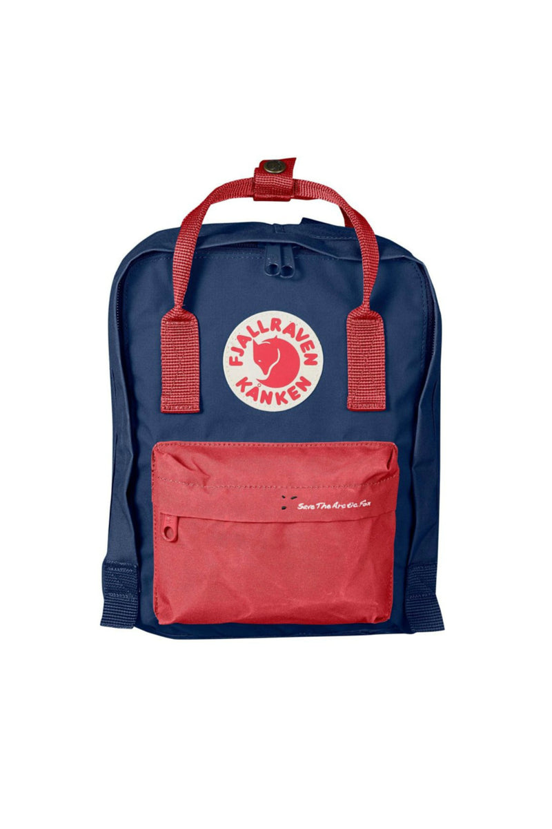 Fjällräven Save the Arctic Fox Kånken Mini Backpack in Royal Blue / Peach