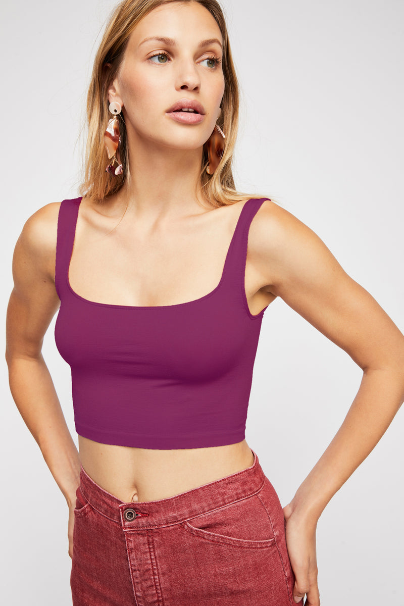Free People Scoop Neck Crop in Fuchsia
