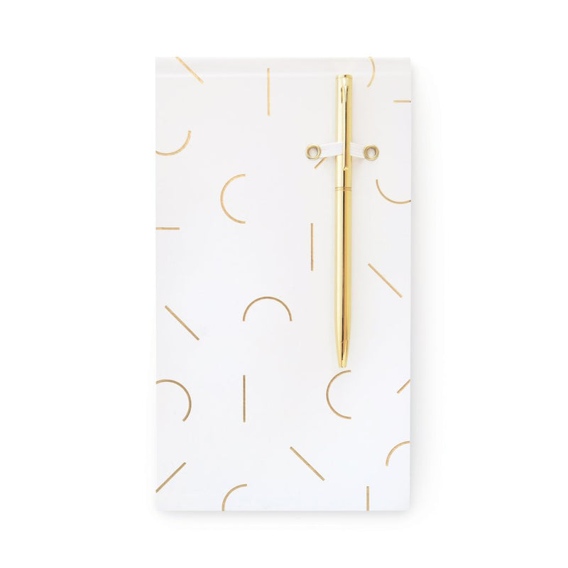 Designworks Ink Chunky Note Pad with Pen - White Modern Memphis