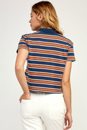 RVCA Polar Striped Polo Top in Navy