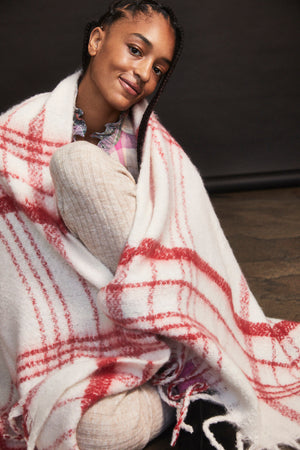 Free People Prep Brushed Plaid Blanket Scarf - Ivory Combo