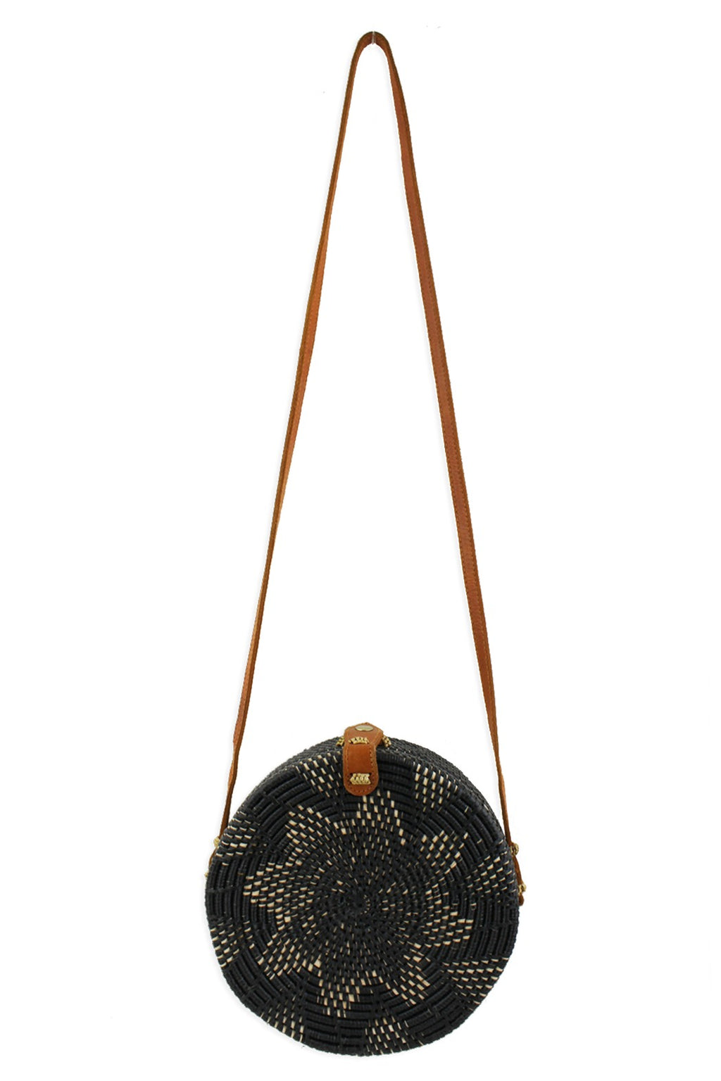 Street Level Ratan Circle Crossbody in Black