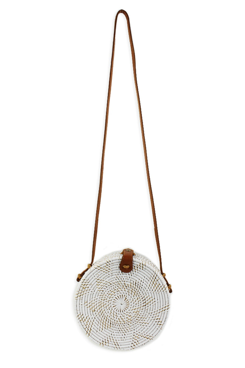 Street Level Ratan Circle Crossbody in White