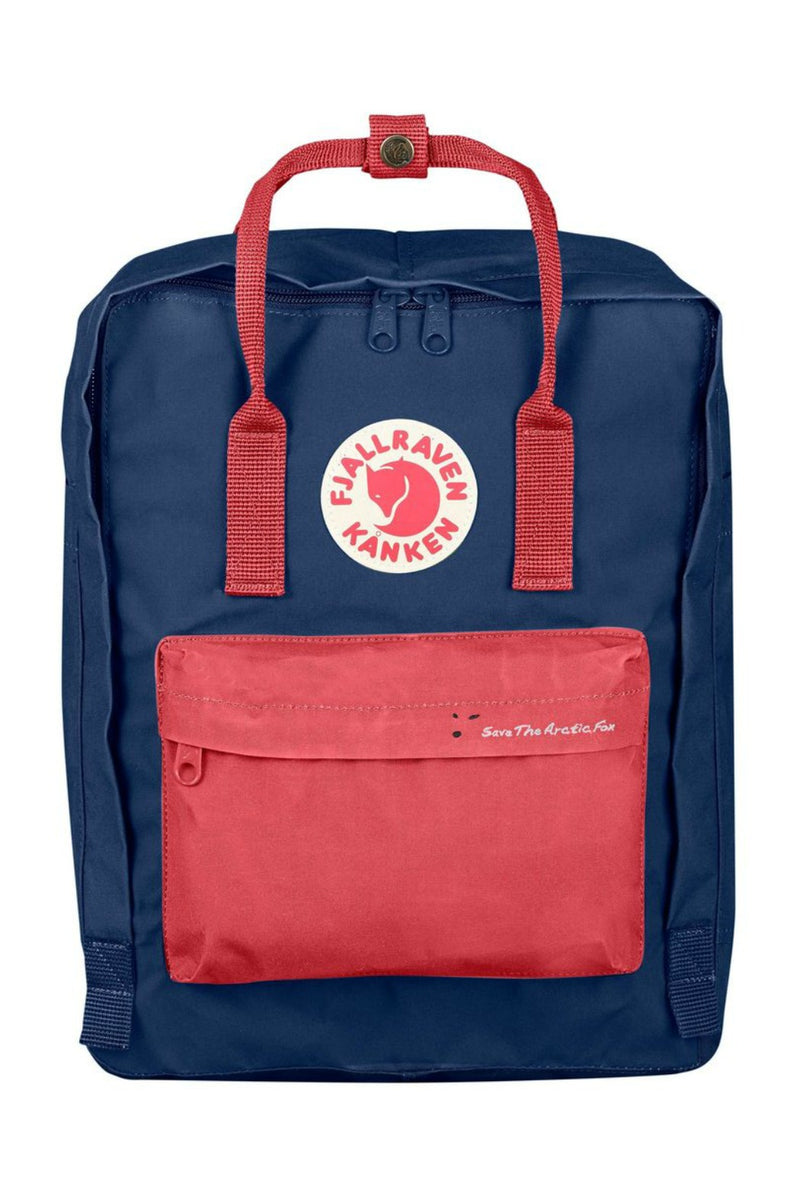 Fjällräven Save the Arctic Fox Kånken Backpack in Royal Blue / Peach