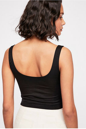 Free People Scoop Neck Crop in Black