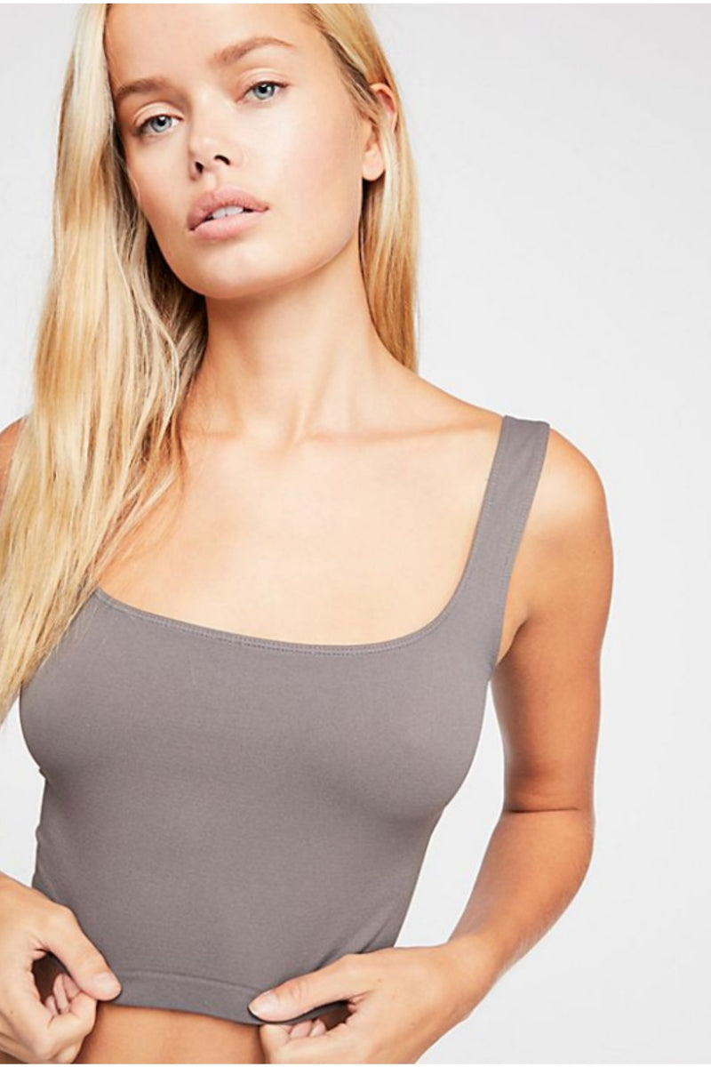 Free People Scoop Neck Crop in Dark Grey