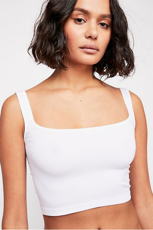 Free People Scoop Neck Crop in White