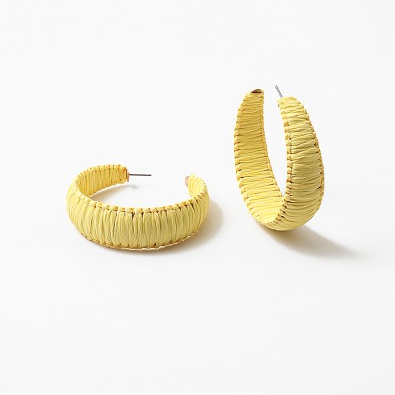 Raffia Hoops in Yellow