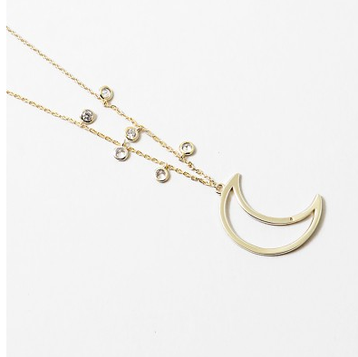 Gold Moon Necklace with Charms