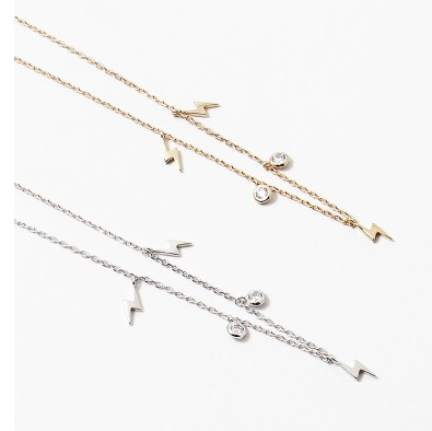 Lightning Bolt + CZ Necklace