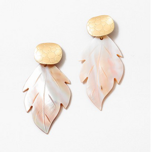 Gold Textured Post With Shell Leaf Earrings