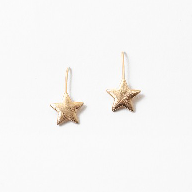 Drop Star Earrings - Brushed Gold
