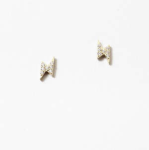 Tiny Lightening Bolt Studs - Sterling - Gold