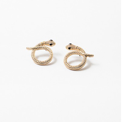 Snake Stud Earrings - Gold