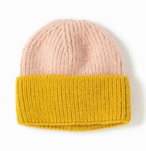 LOOK Cotton Candy Two Tone Beanie - Yellow