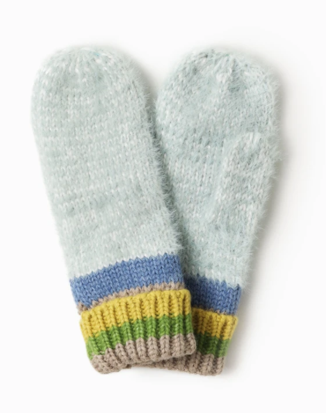 LOOK Cotton Candy Stripe Mittens - Mint