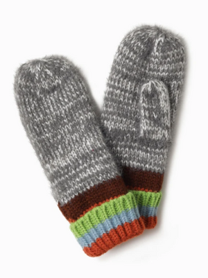 LOOK Cotton Candy Stripe Mittens - Grey