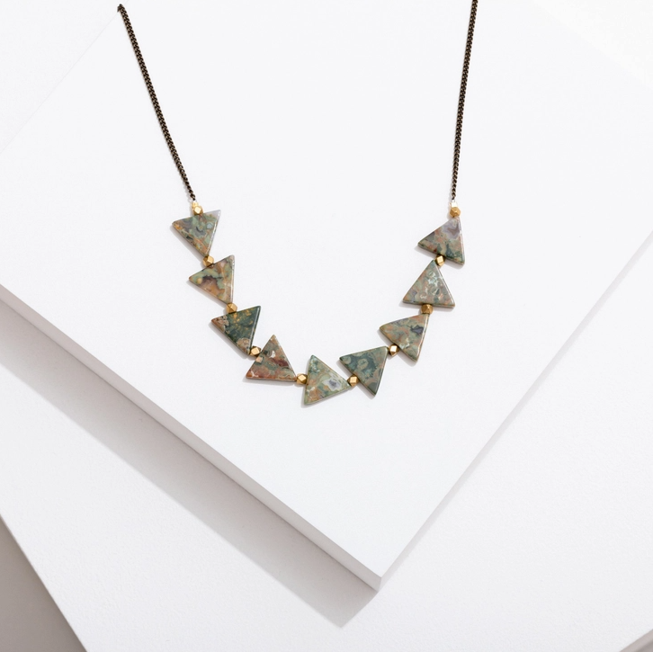 Larrisa Loden Triangles Necklace - Rhyolite
