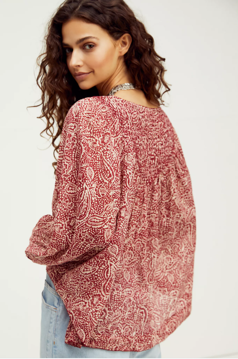 Free People Cool Meadow Printed Top in Sweet Cranberry