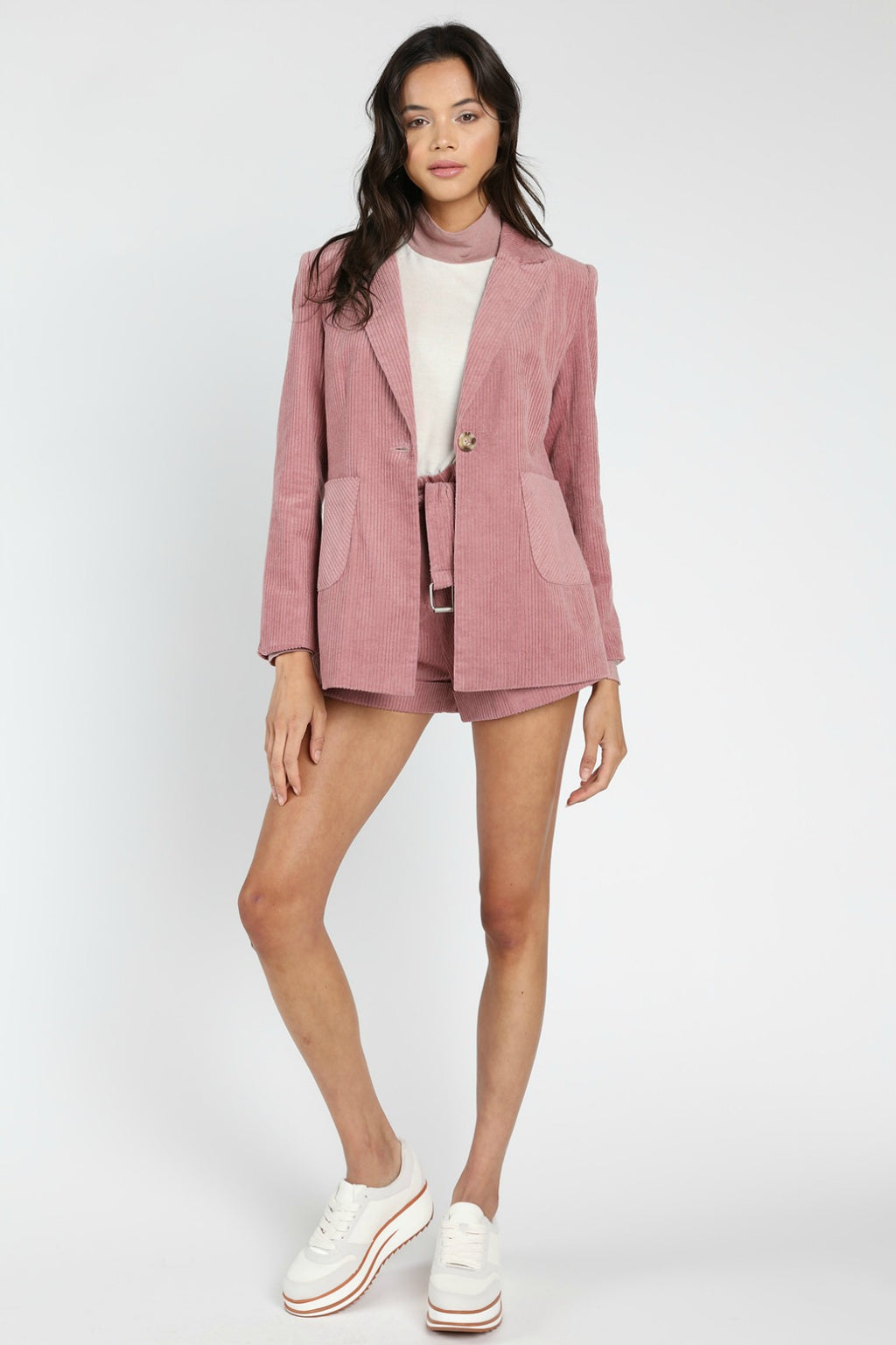 Honey Punch Stardust Corduroy Blazer in Mauve