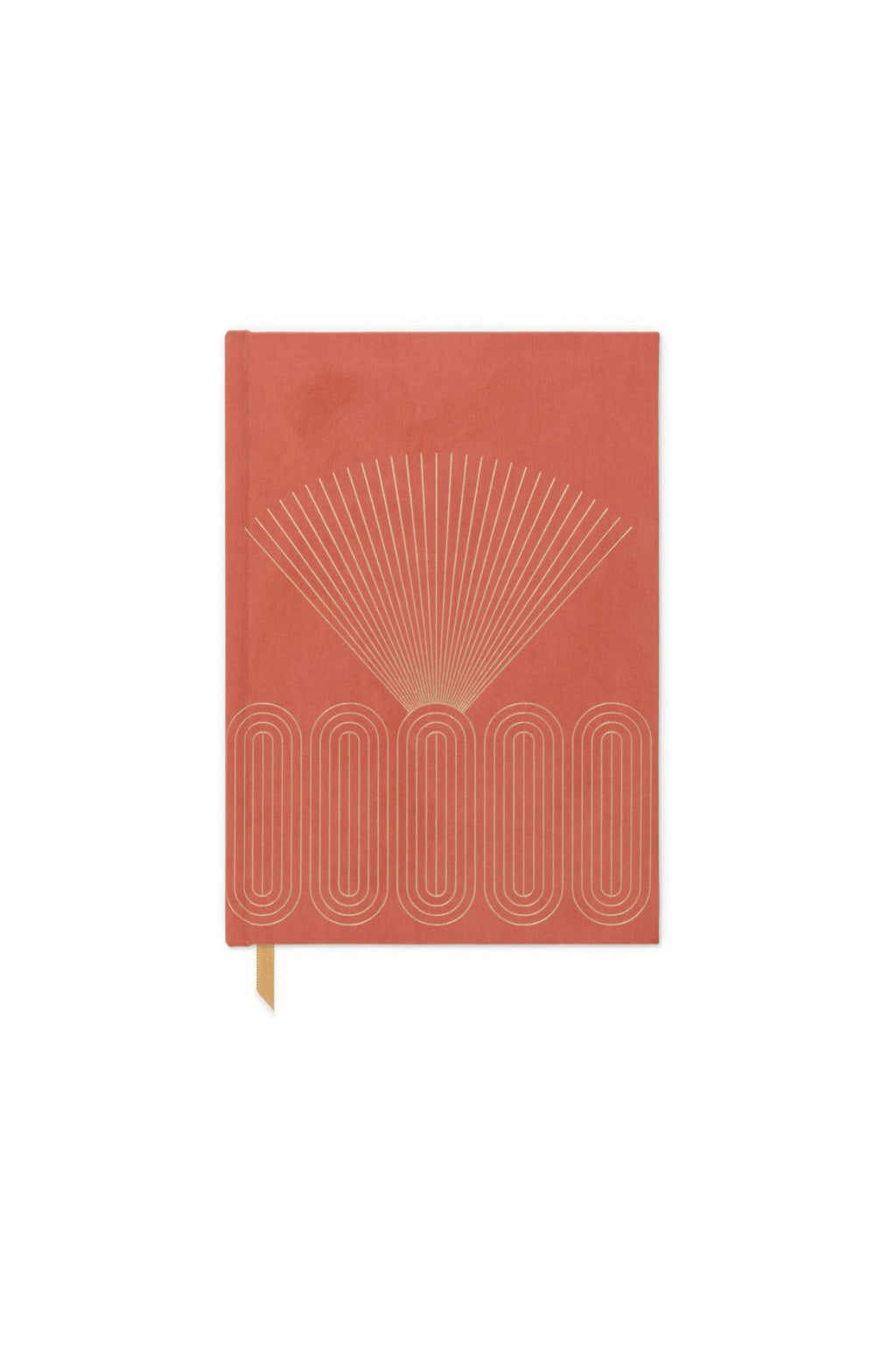 Designworks Ink Bookcloth Cover Bound Journal - Bright Terracotta Radiant Rays
