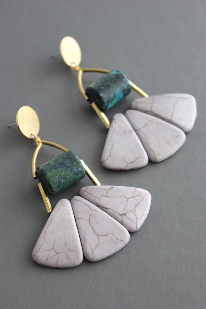 David Aubrey Handmade Brass Turquoise Post Earrings