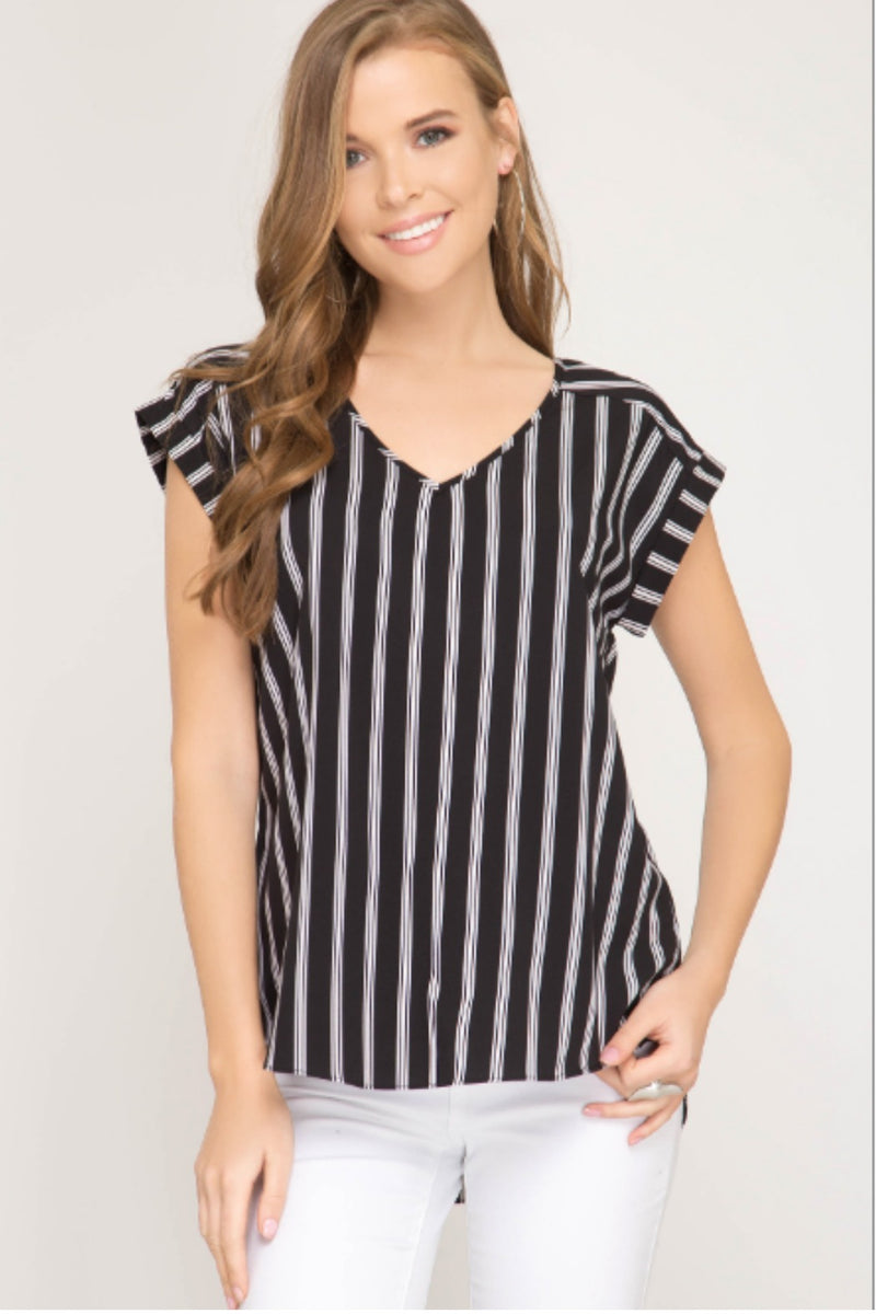 Zoey Striped Top in Black