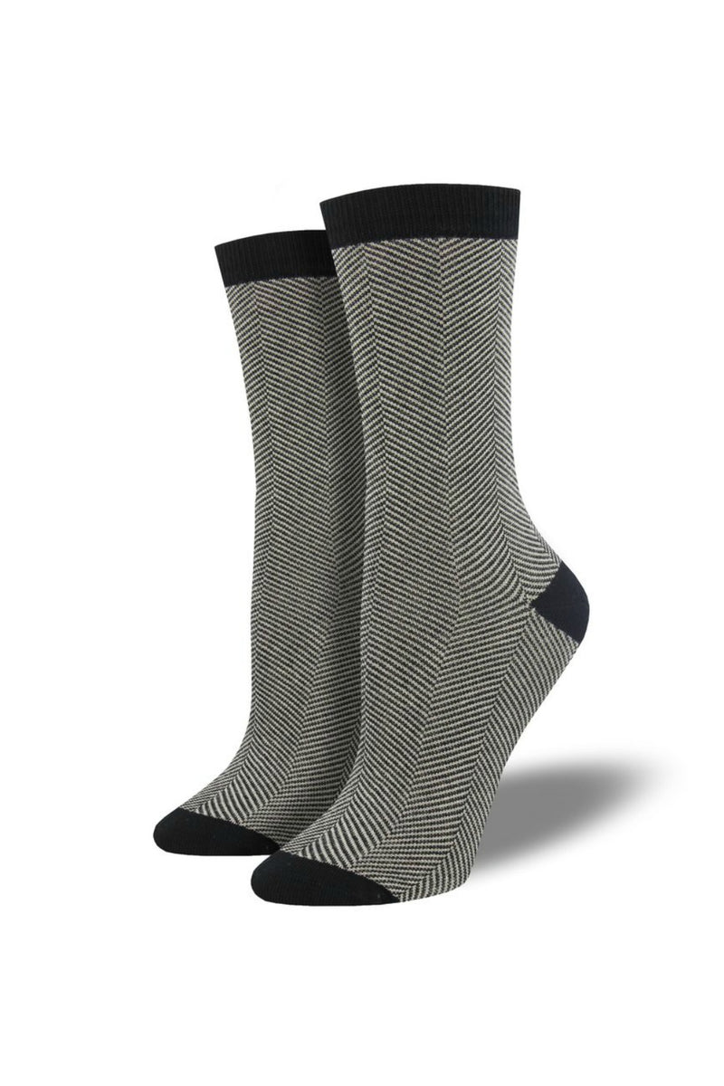 Socksmith Bamboo Socks Solid in Herringbone Black