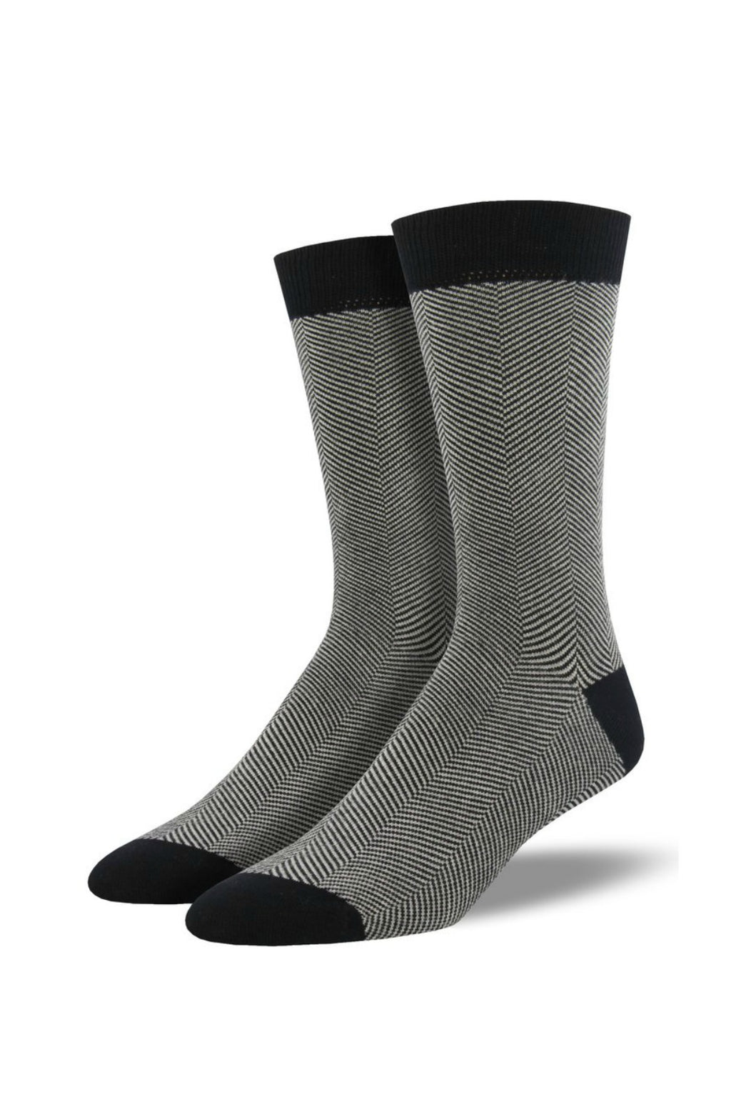 Socksmith Men's Bamboo Socks Solid - Herringbone Black