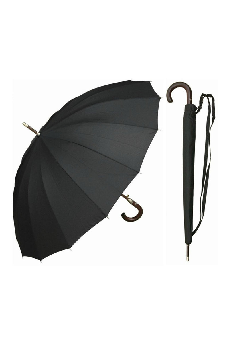 "RainStoppers 46"" 16-Panel Hercules Umbrella - Black"
