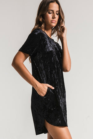 Z Supply The Crushed Velour Tie Back Dress in Black