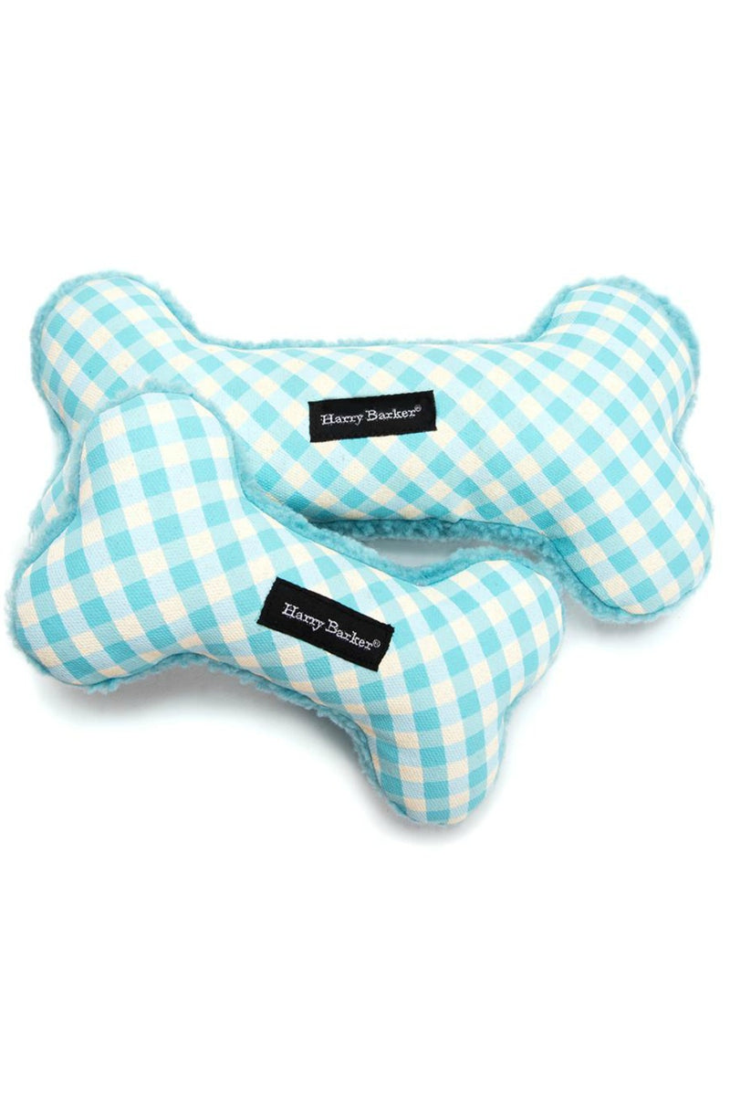 Harry Barker Small Gingham Bone Toy in Aqua