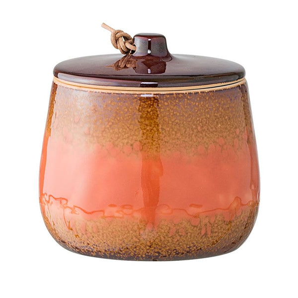 "Lidded Stoneware Jar - Russet and Salmon Glaze 4""H"