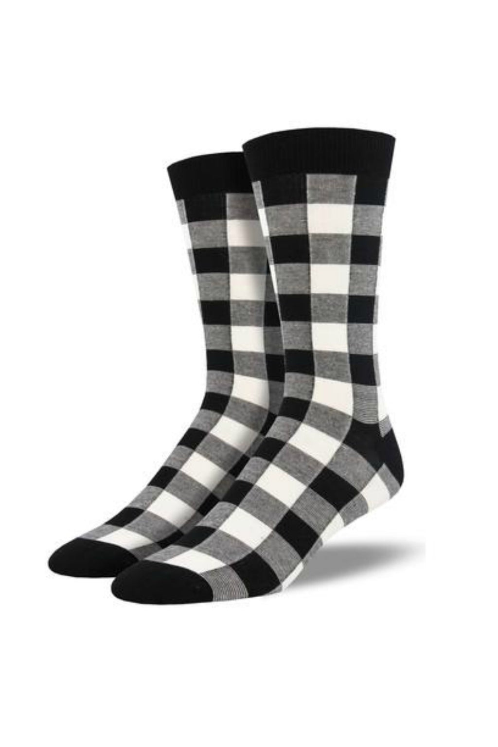 Socksmith Men's Bamboo Buffalo Plaid Socks - White