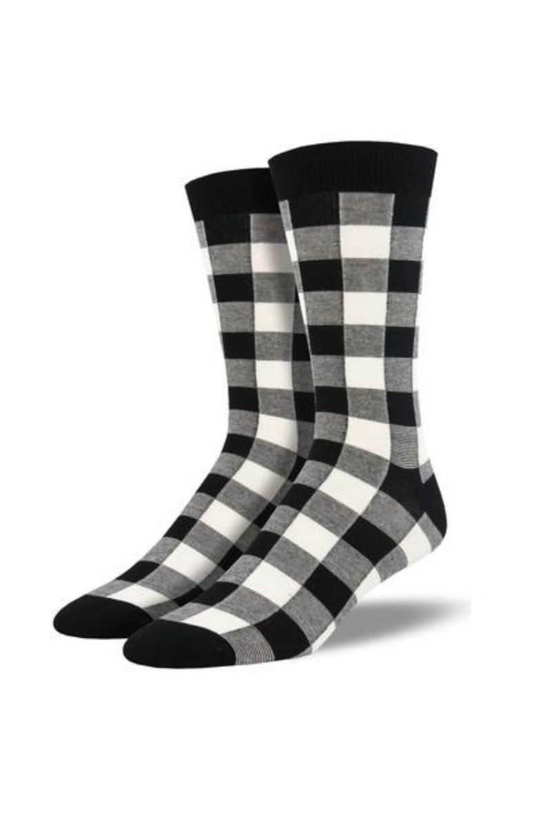 Socksmith Men's Bamboo Buffalo Plaid Socks in White