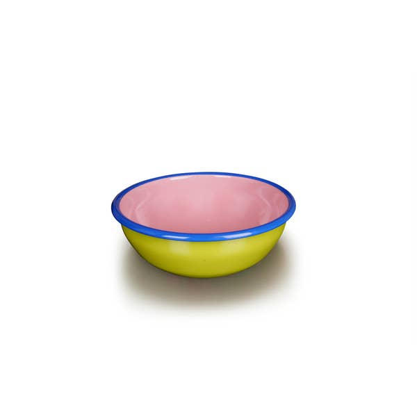 Bornn Enamelware Colorama 24 oz. - Chartreuse/Soft Pink