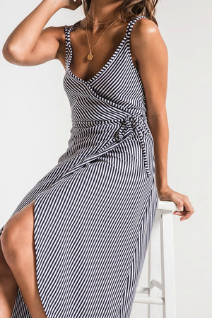 Z Supply Capri Wrap Dress in Black Iris/White