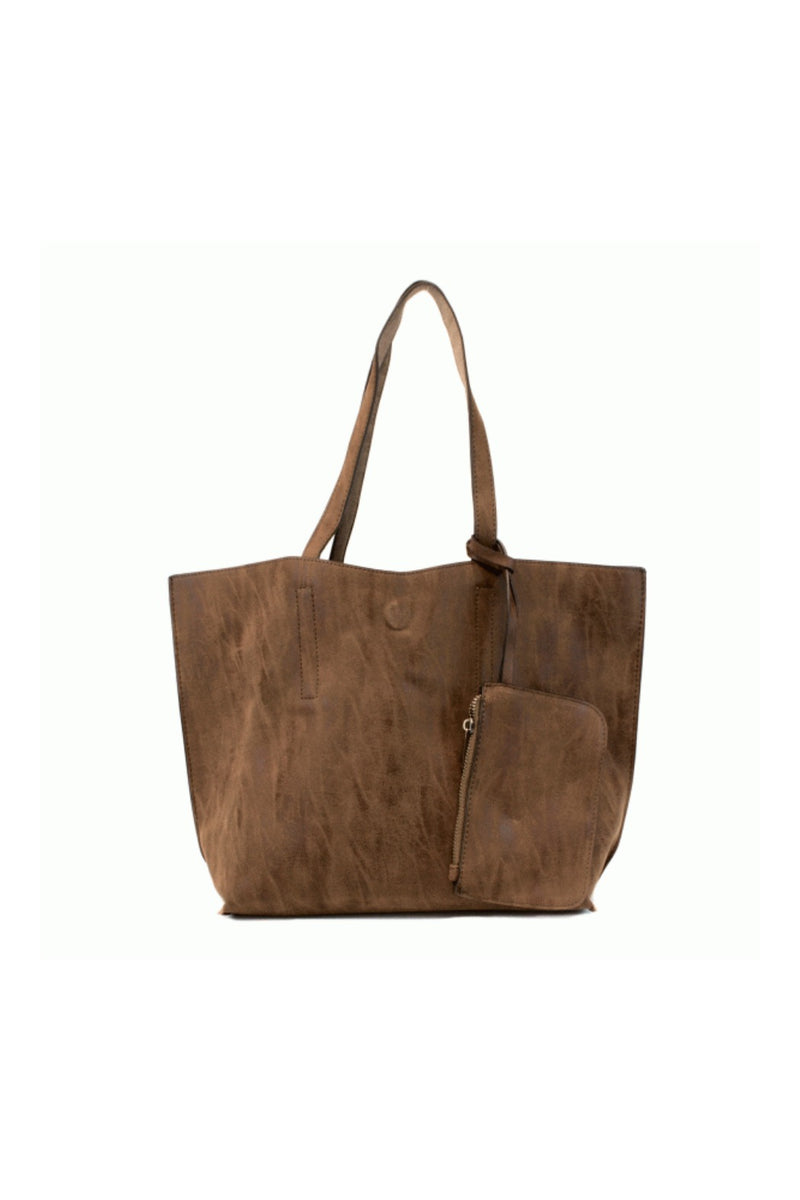 Joy Susan Carly Brushed Leather Reversible Tote - Chocolate/Taupe