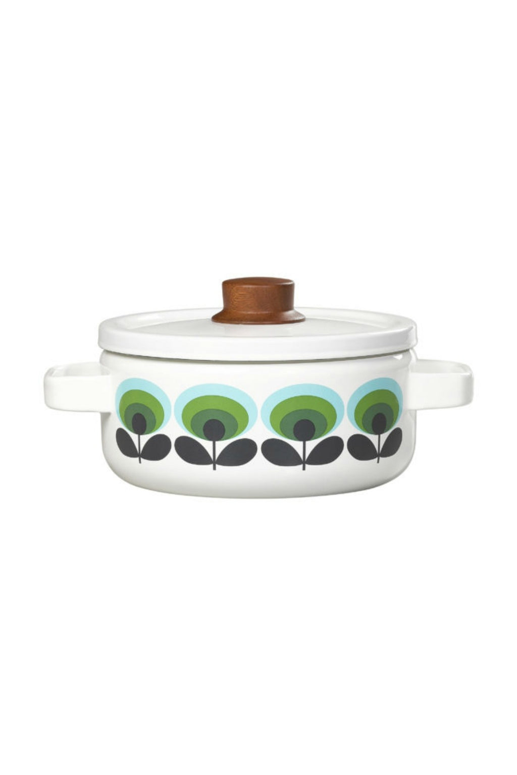 Orla Kiely 70's Oval Flower Enamel Medium Casserole Pot