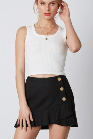 Claire Button Skirt in Black