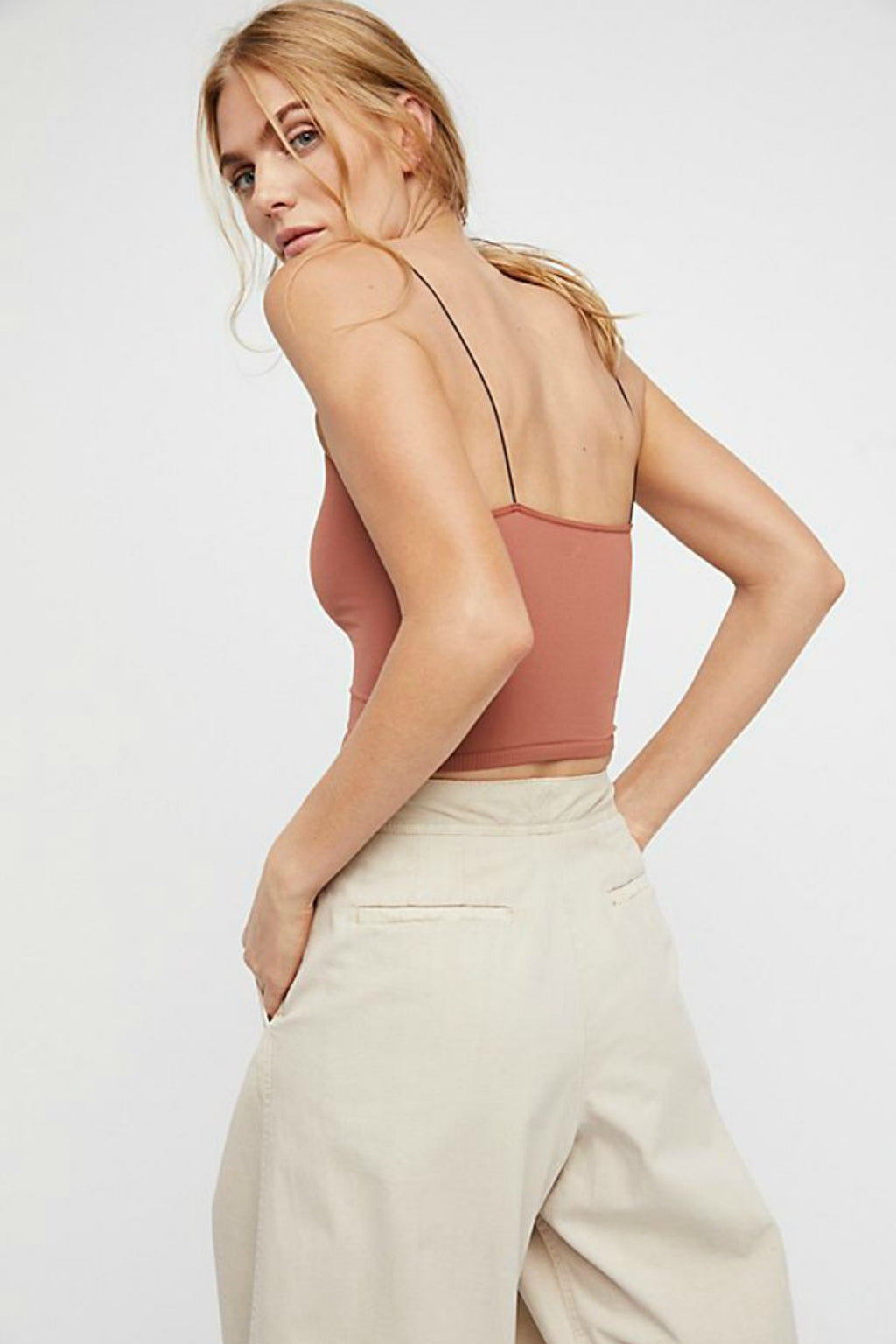 Free People Skinny Strap Brami in Copper