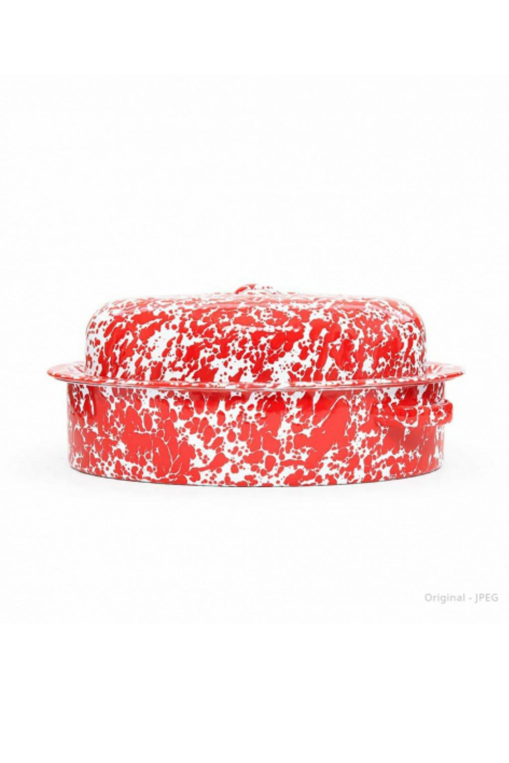 Crow Canyon Home Large Covered Oval Roaster - Red Splatter