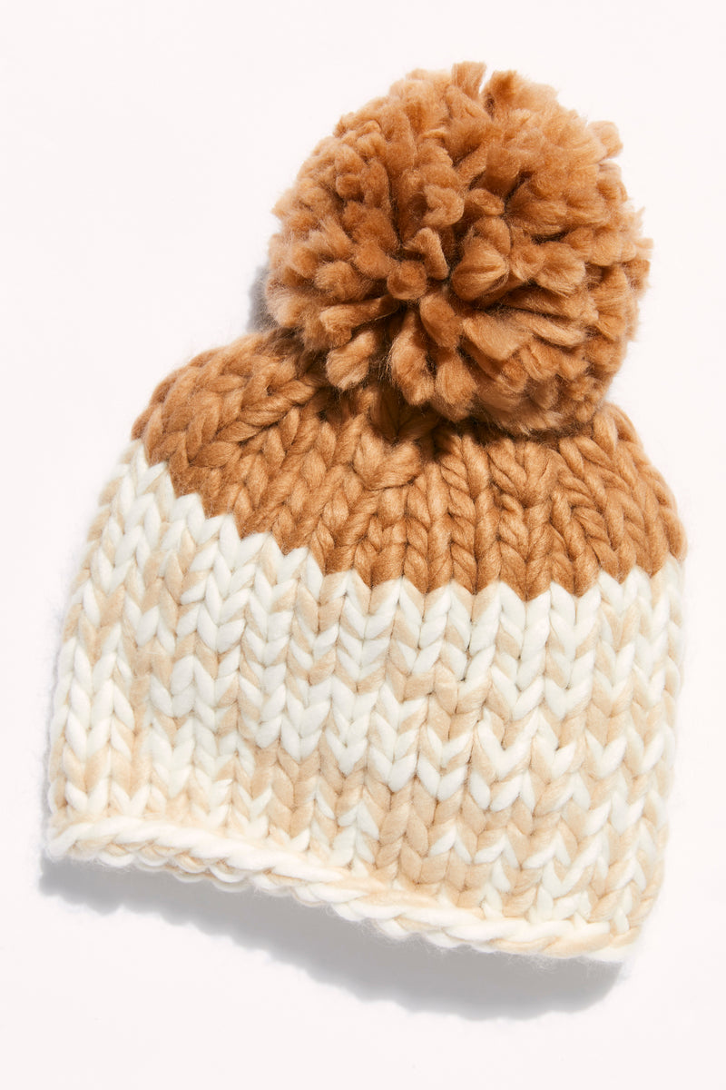 Free People Cozy Up Color Block Pom Beanie - Oat/Camel