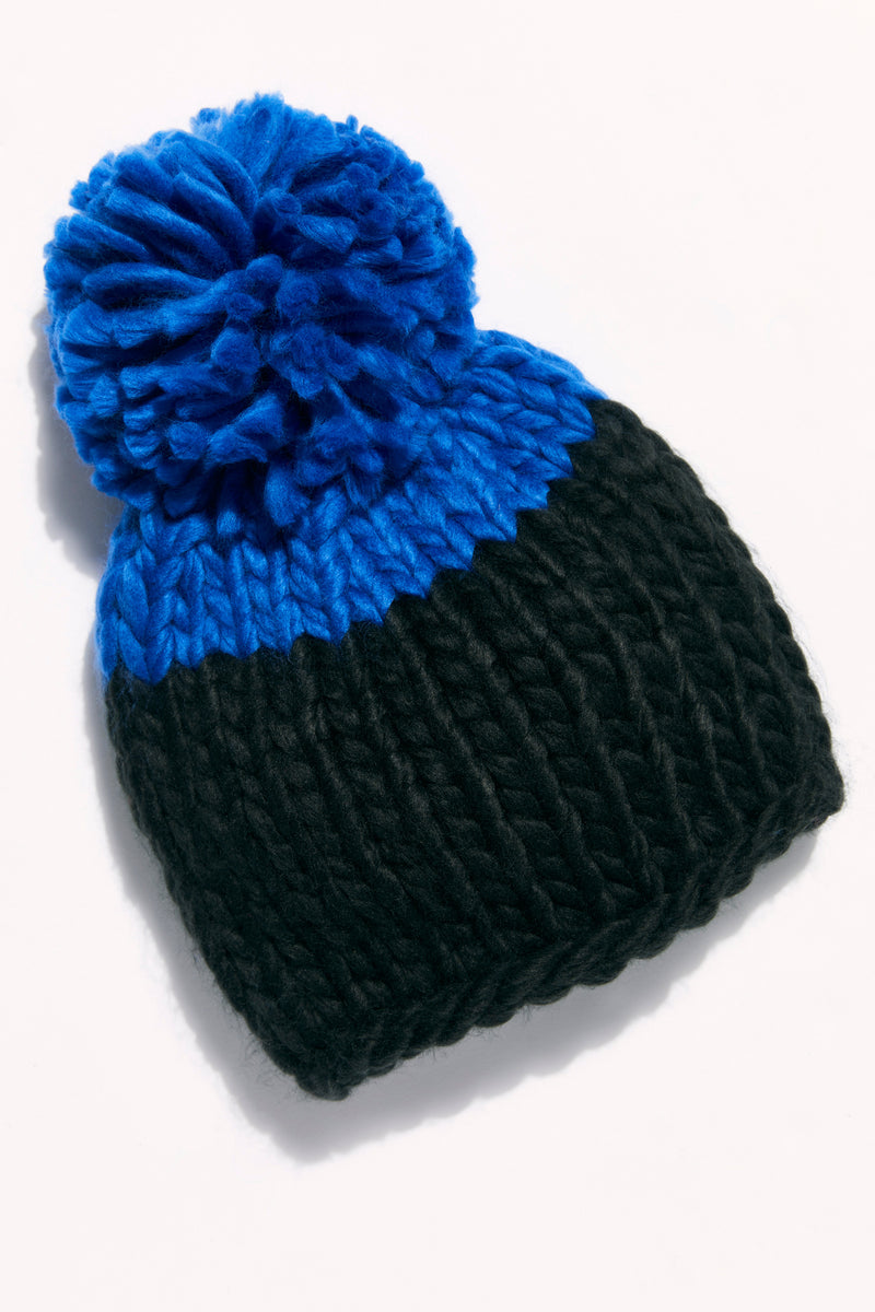 Free People Cozy Up Color Block Pom Beanie - Black/Blue
