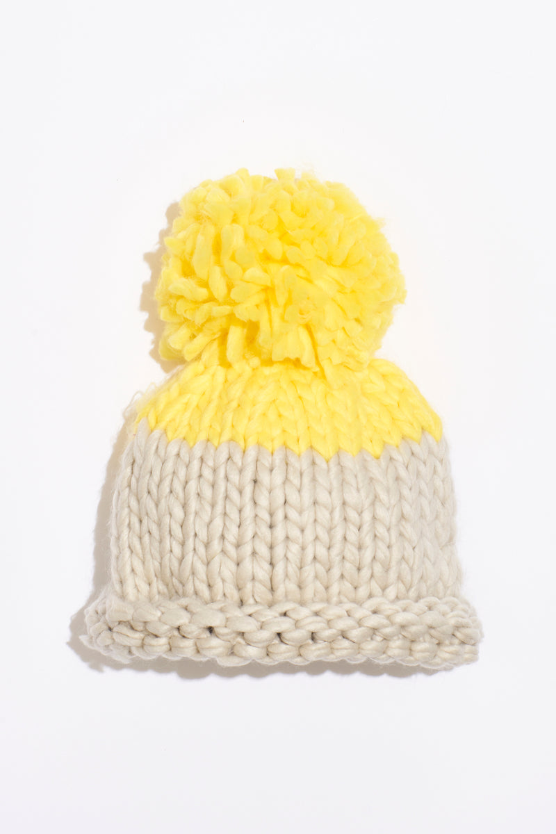 Free People Cozy Up Color Block Pom Beanie - Grey/Yellow