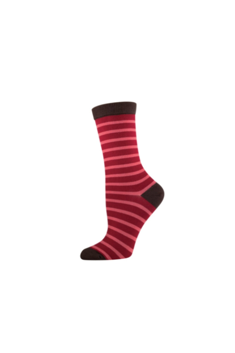 Socksmith Bamboo Stripe Socks - Crimson